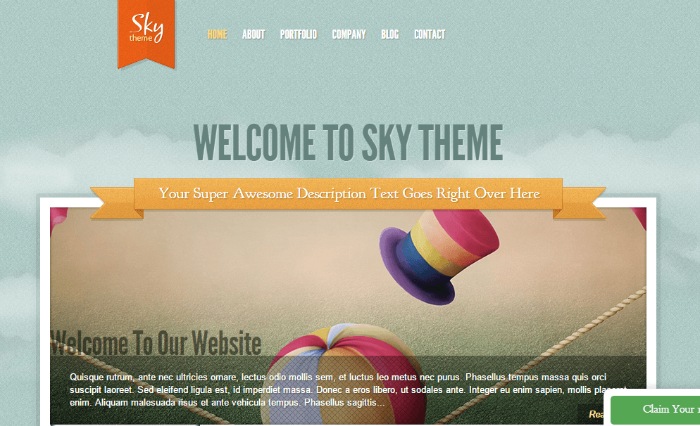 Sky- Front page built with slider with tab thumbnails containing page title & excerpt