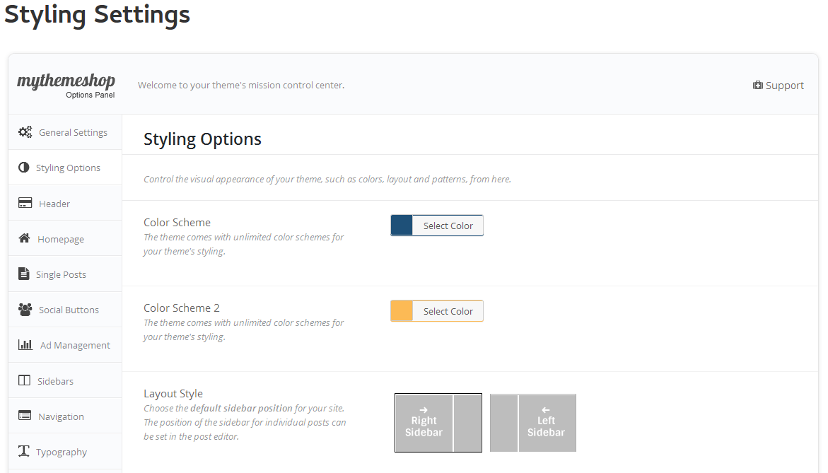 Styling-Settings page