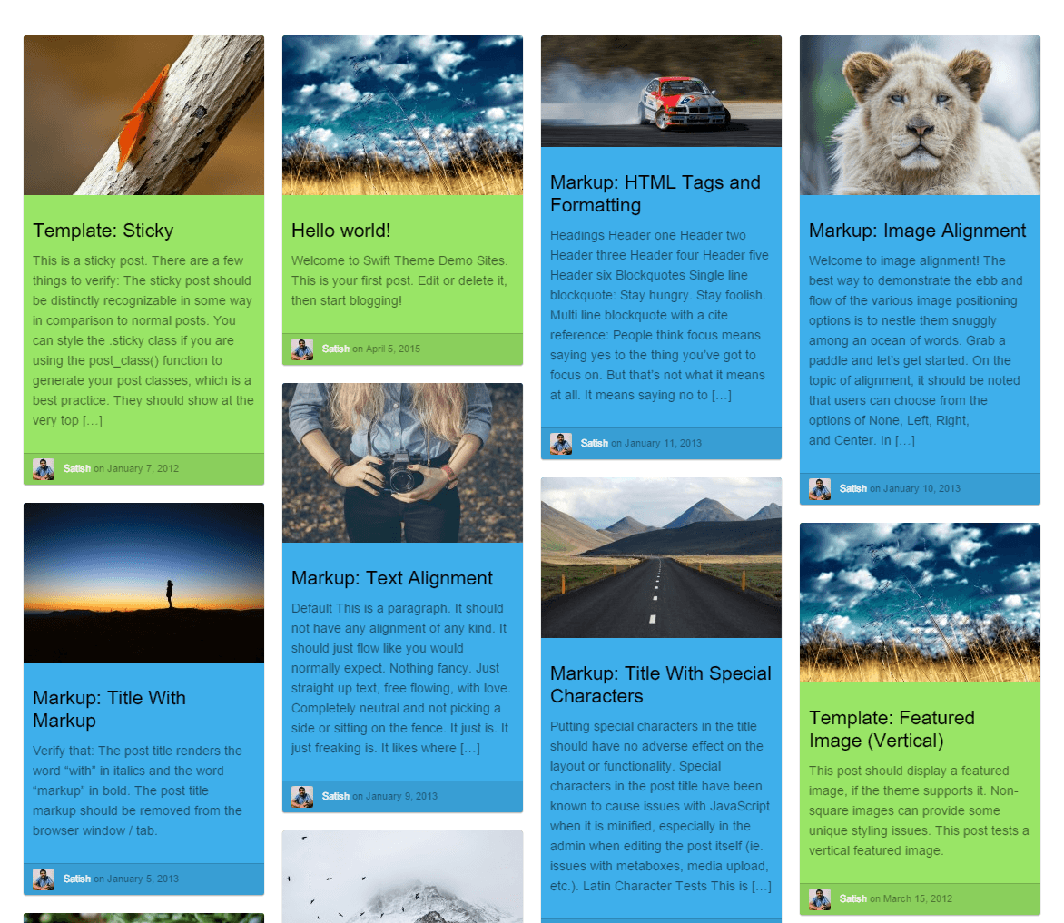 Swift- Colored Magazine layout for featuring posts