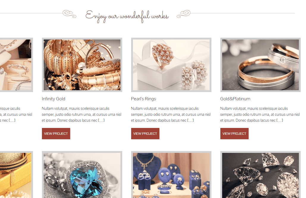 The Jewelry Shop- Portfolio page layout supporting 2-4 columns