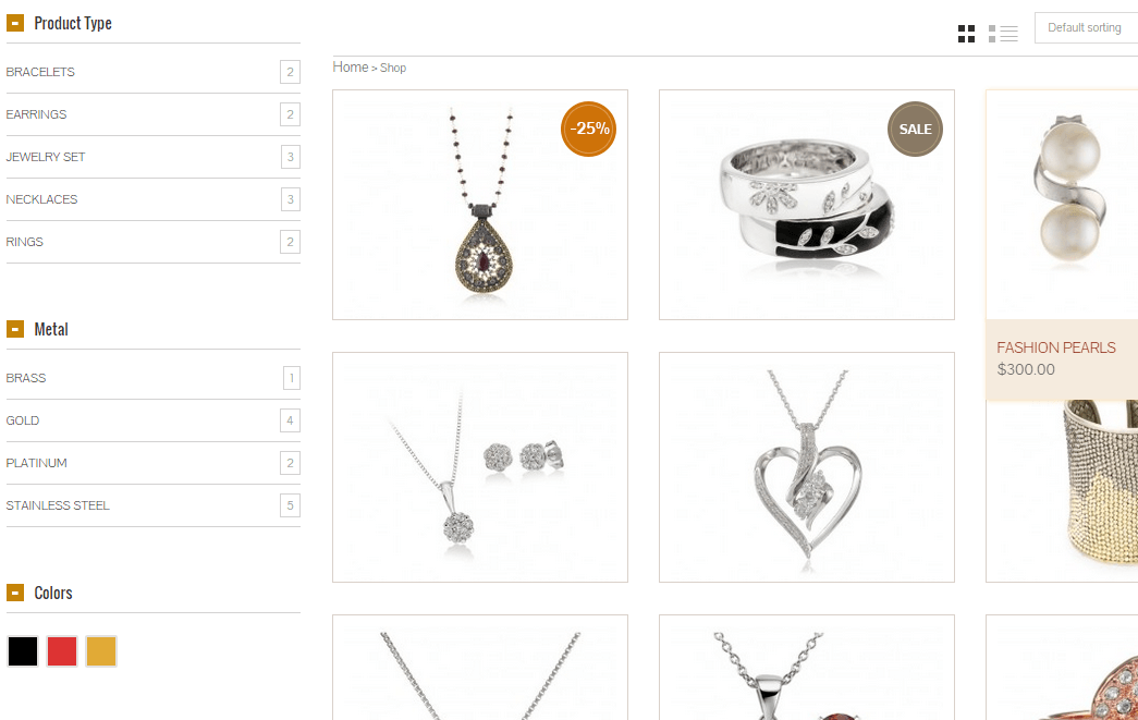The Jewelry Shop- Products displayed using this theme
