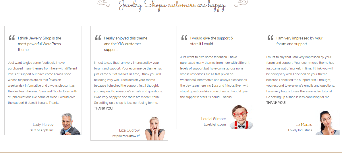 The Jewelry Shop- Testimonial page built with shortcode generator