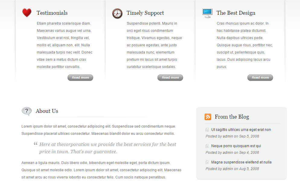 TheCorporation- Front page built with shortcodes