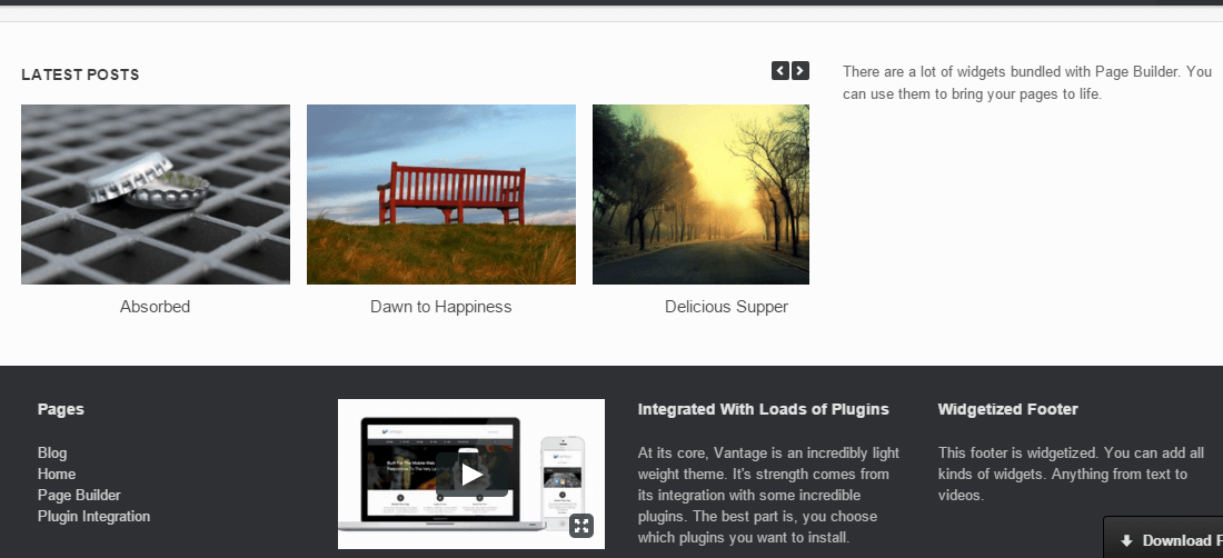 Vantage theme's page showing latest posts and footer