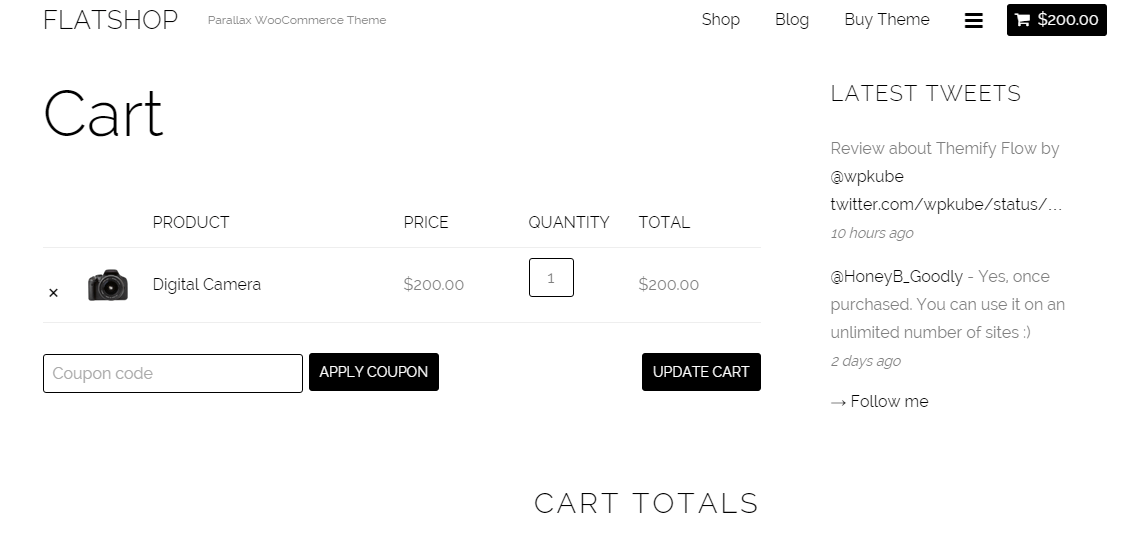 View of cart when product is added to cart.