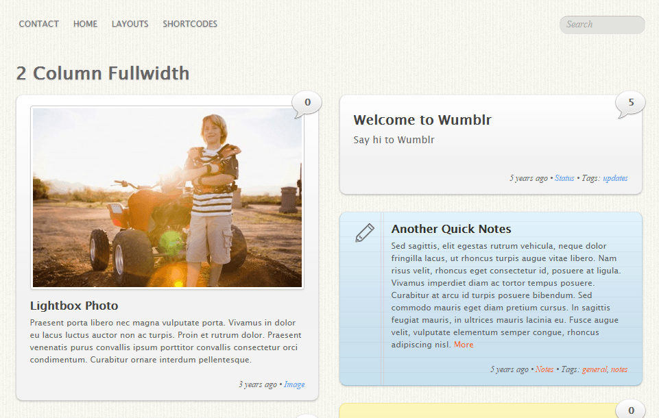Wumblr- 2 Column fullwidth page layout