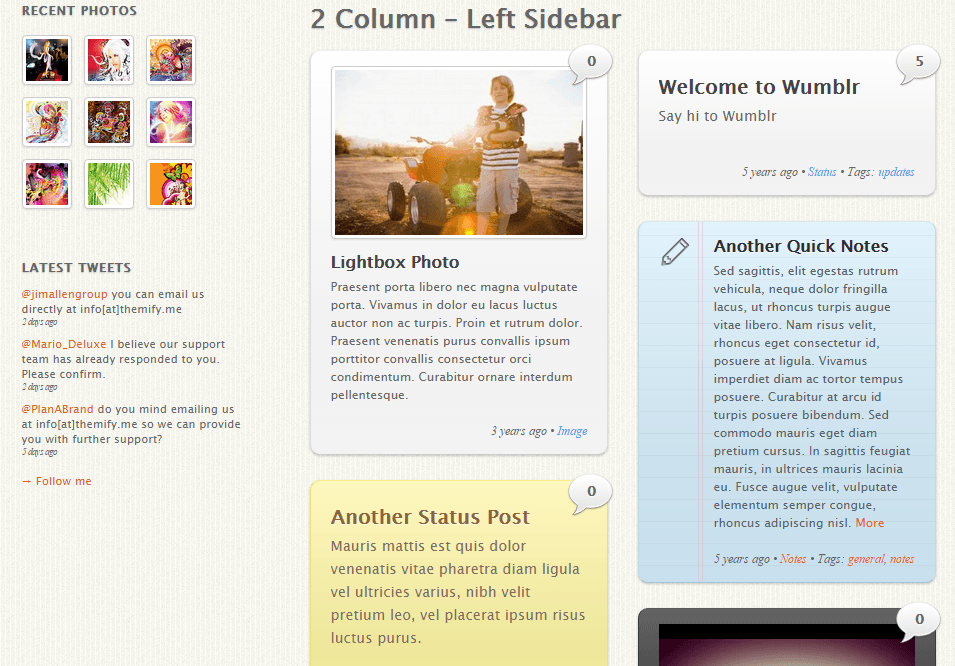 Wumblr- 2 Column with left sidebar layout. Each block resizes itself according to post size