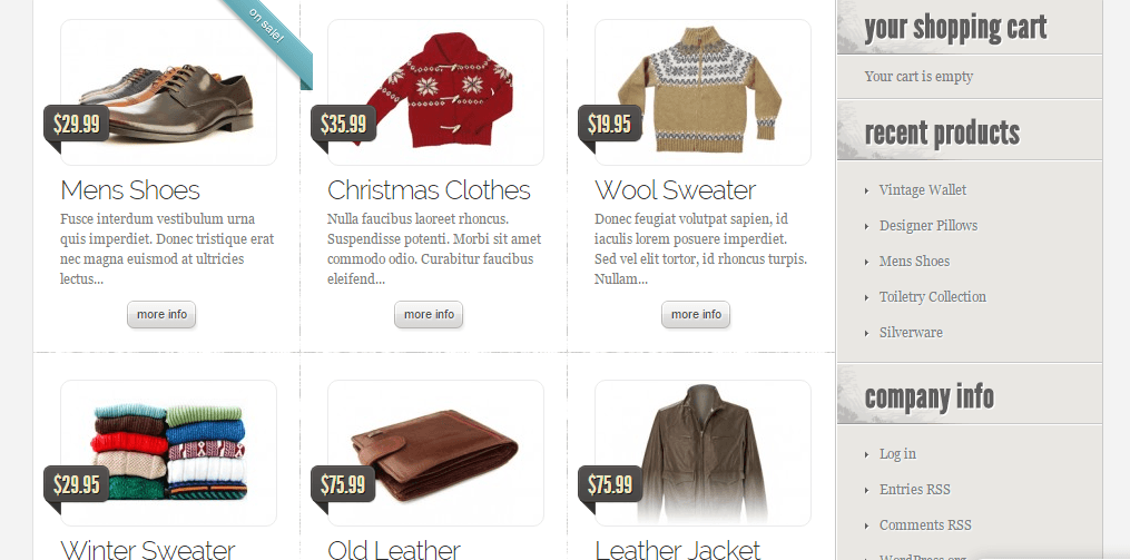 eStore's theme clothing page