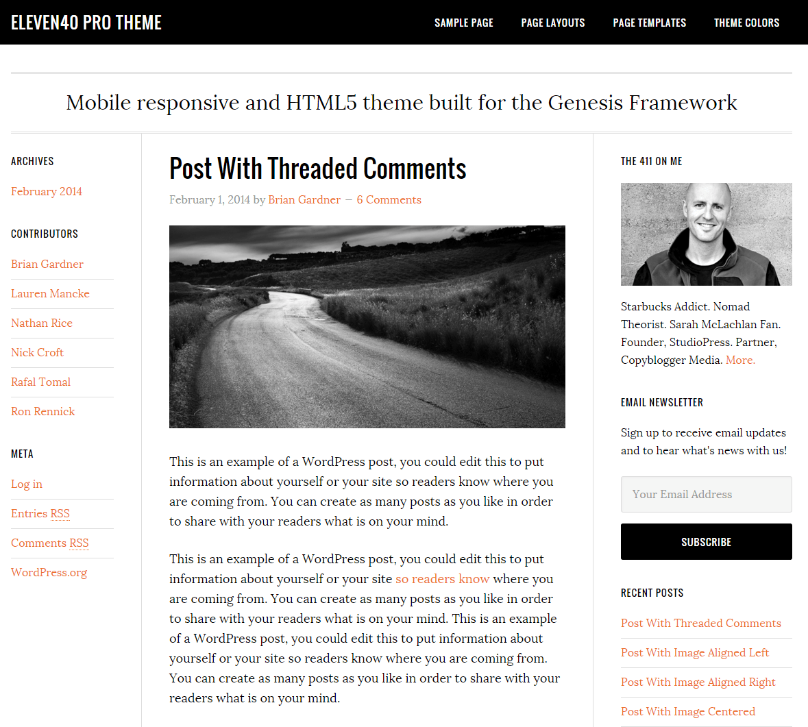 eleven40 Pro- Front page built with sidebar-content-sidebar layout