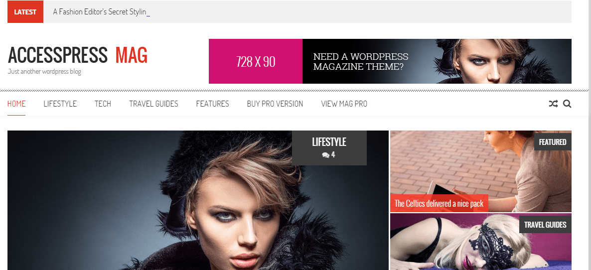 Homepage of Accesspress Mag theme