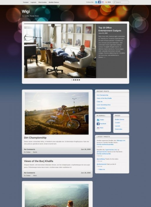 Wigi Front Page with slider-Wordpress Theme for Blogger