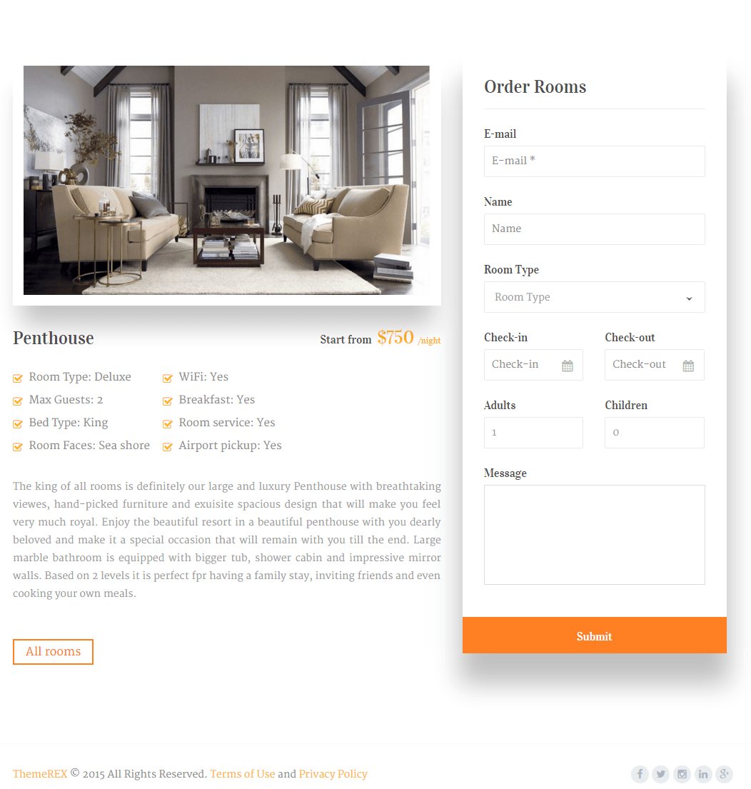 5 Stars- Single room's page for booking