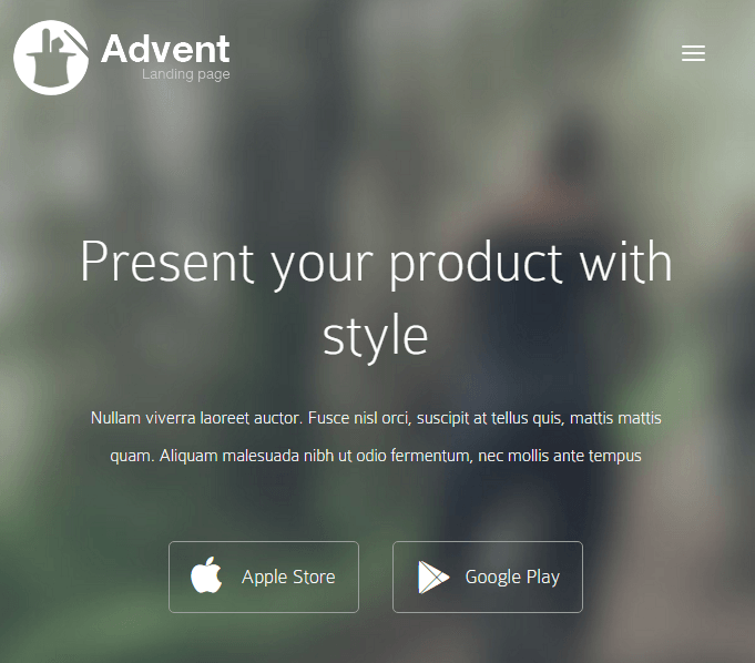 Advent- An App landing page theme