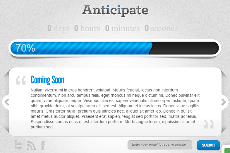 Anticipate Theme- Coming soon page layout