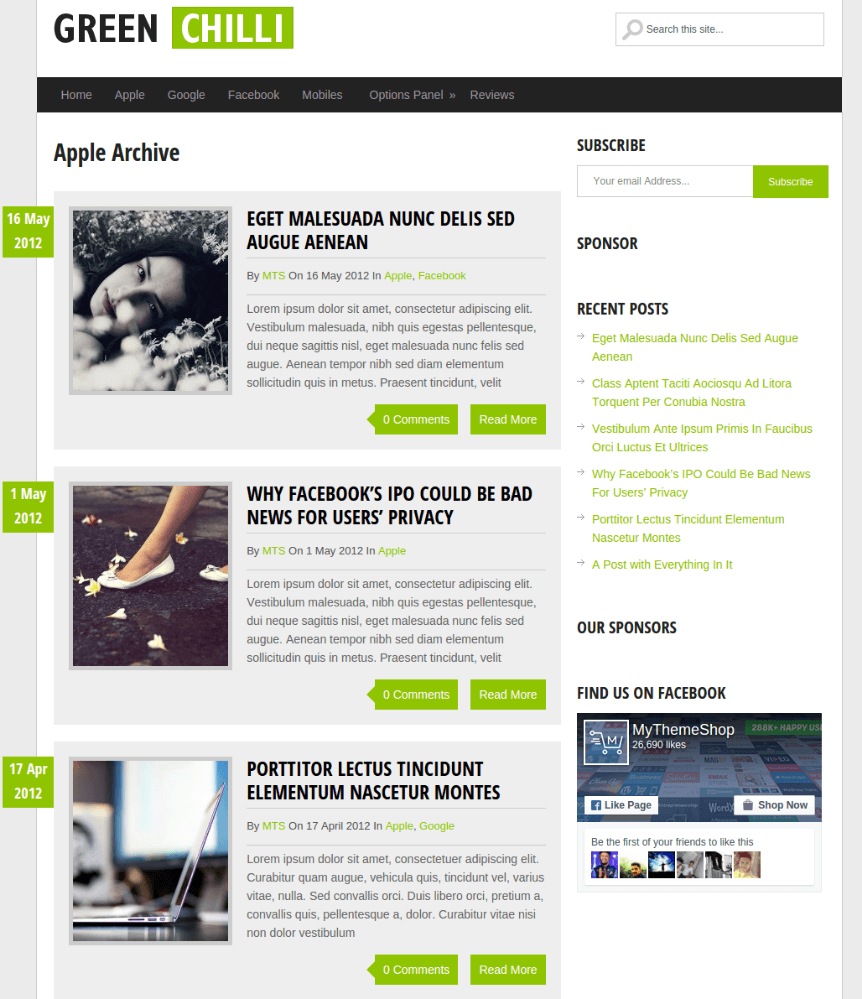 Archive Page of Greenchilli theme
