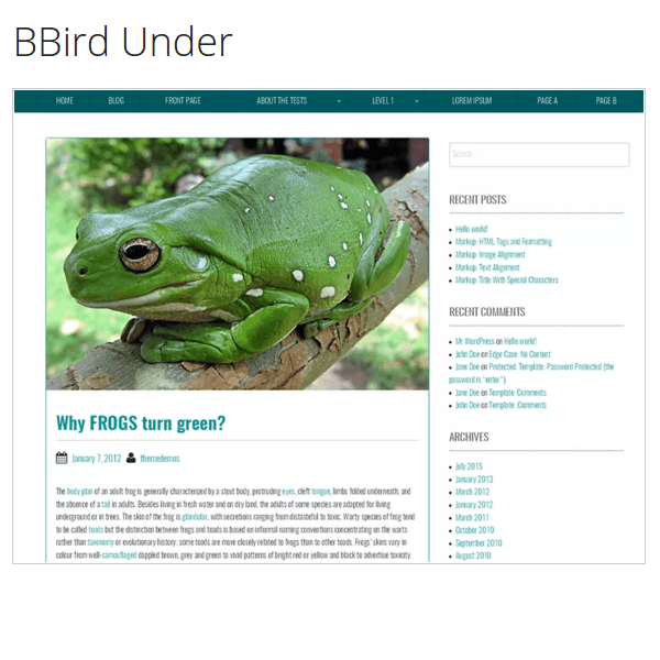 BBird Under (as the name suggests) is built on Underscores theme and Foundation framework.