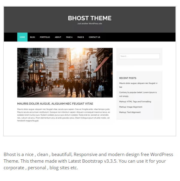 Bhost- A WordPress theme for Corporate and Personal blog