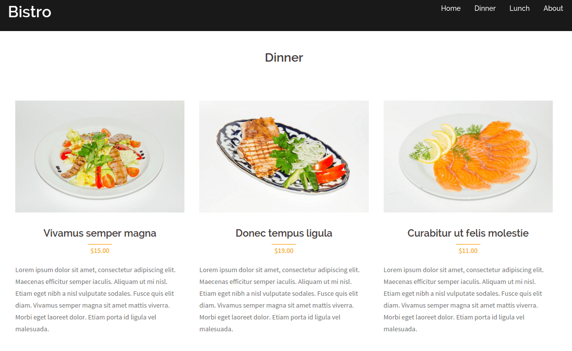 Bistro Dinner Page