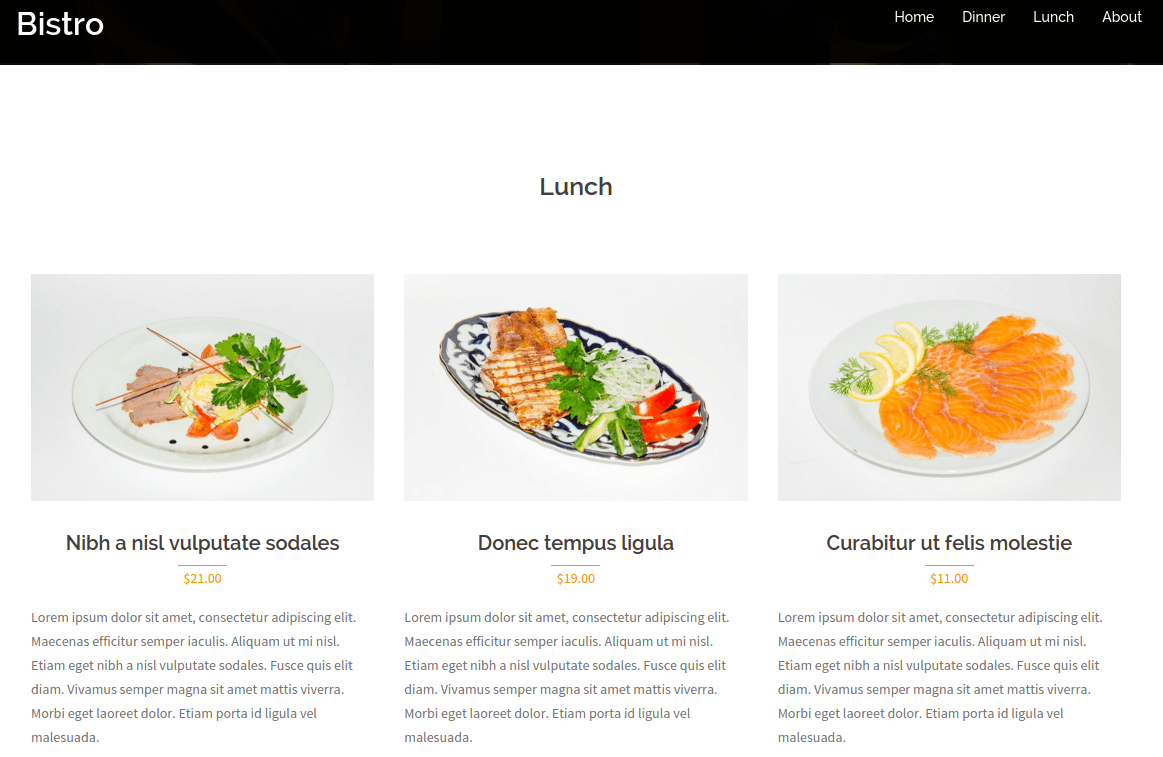 Bistro Lunch Page