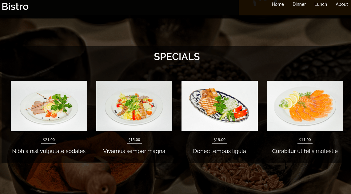 Bistro Specials Section