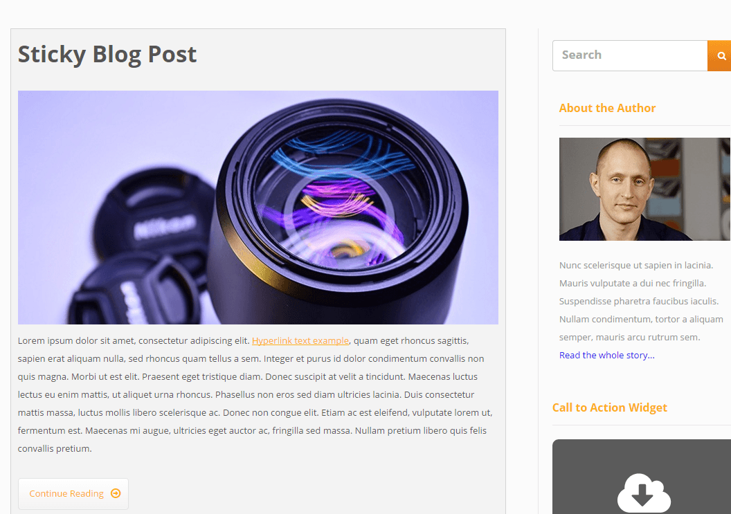 Blog page of Ignition theme