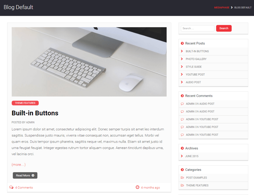 Blog page of Mediaphase Lite theme
