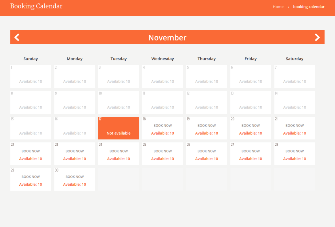 Booking Calendar of Happy Rider