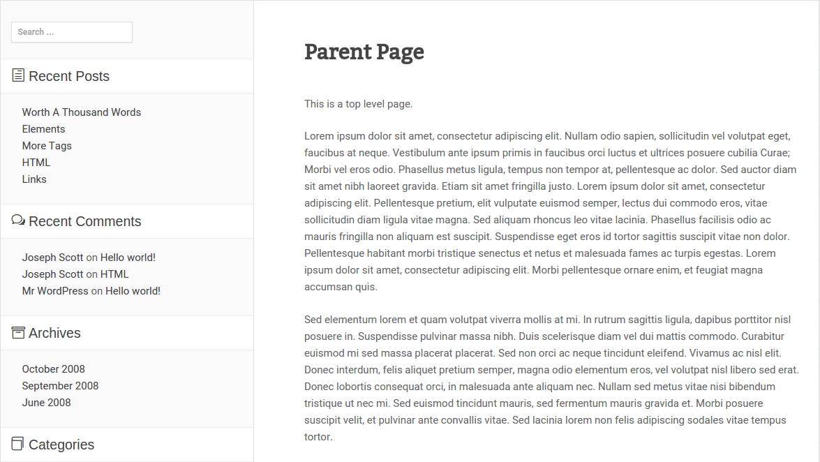 Boxed WP Parent Page