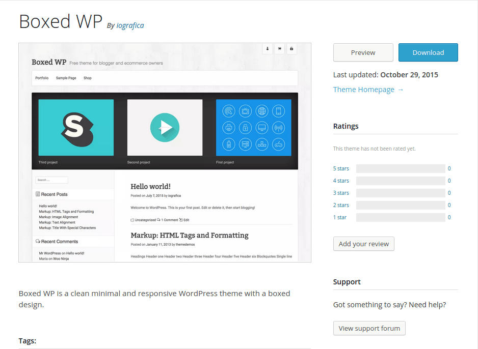 Boxed WP WordPress Page