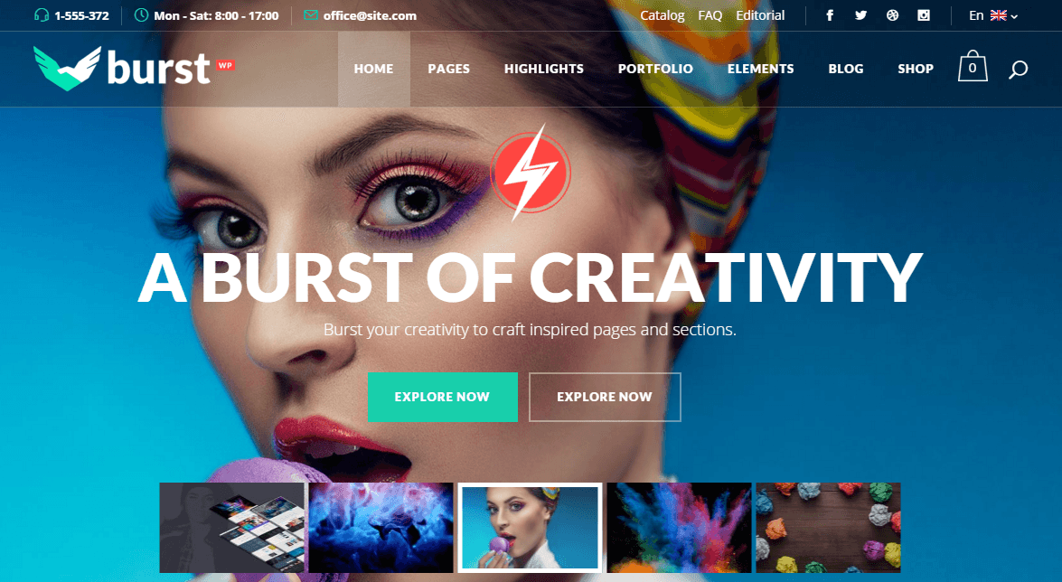 Burst- Front page featured with this theme