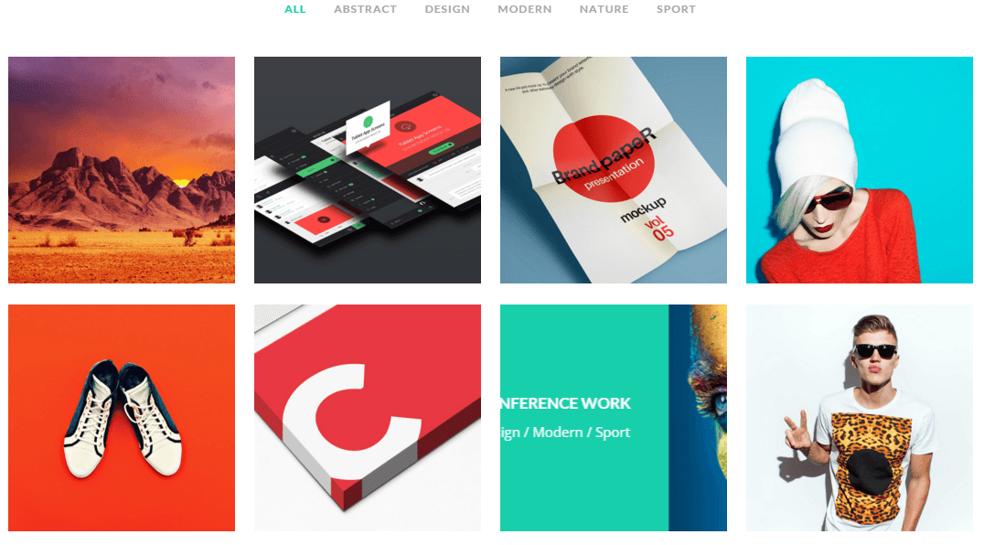 Burst- Portfolio with 4 columns and hover effects