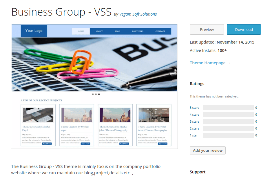 Business Group - VSS WordPress Page