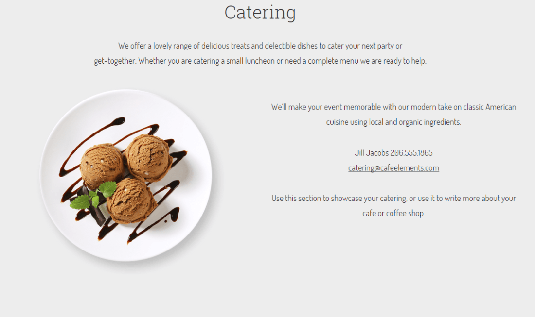 Cafe Elements showing catering section