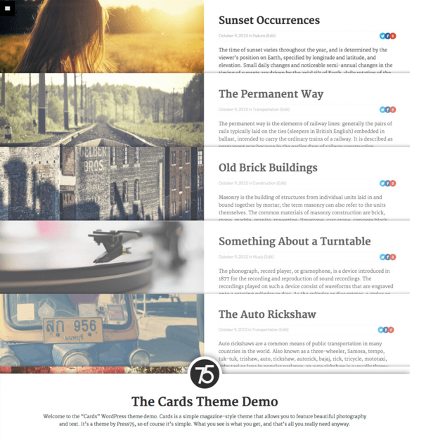 Cards - WordPress Magazine theme