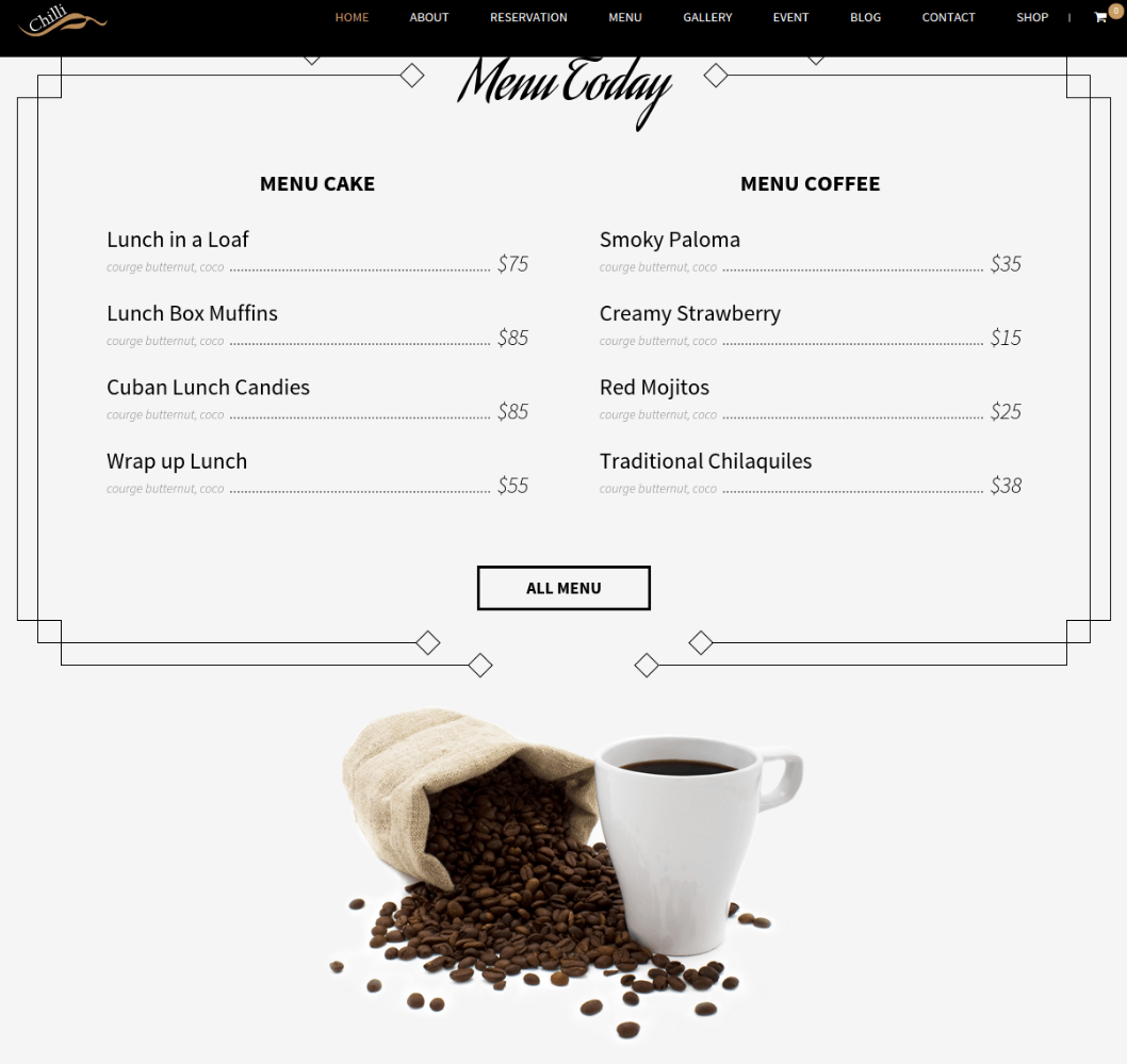 Chilli Coffee shop - Menu Page