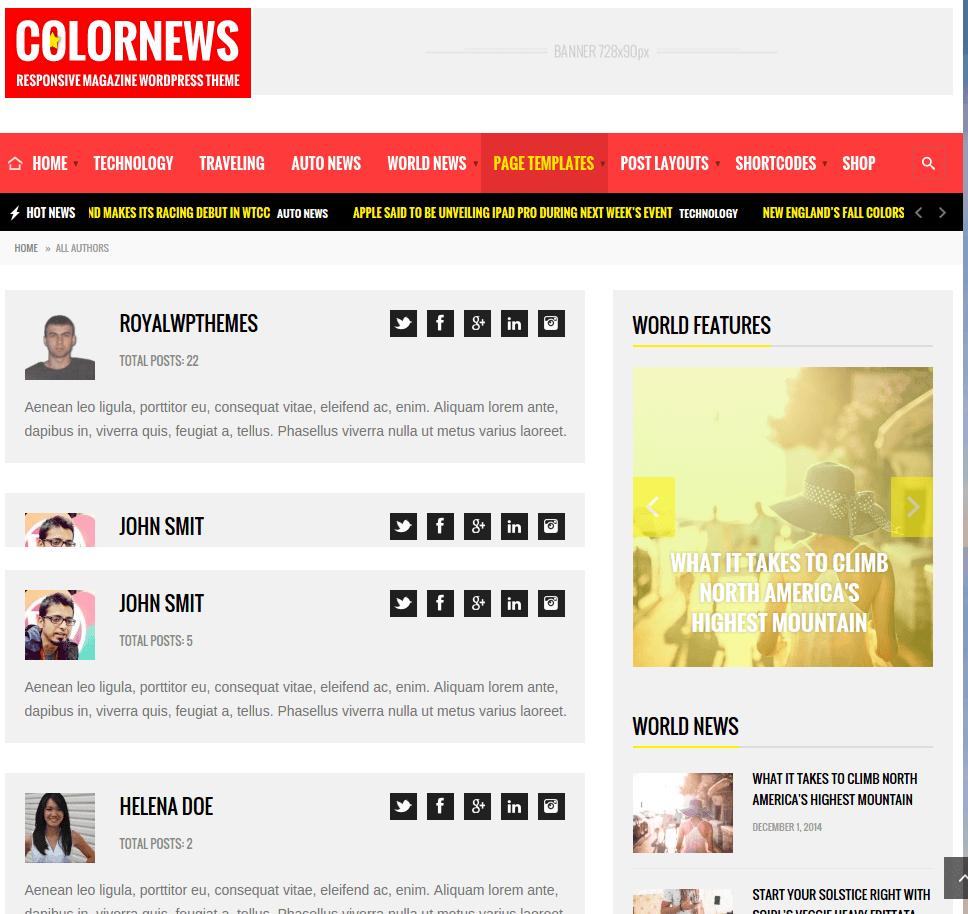 Colornews-About-Wordpress-theme