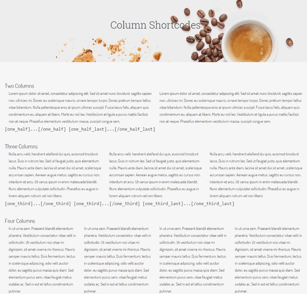 Column shortcodes shown by Cafe Elements
