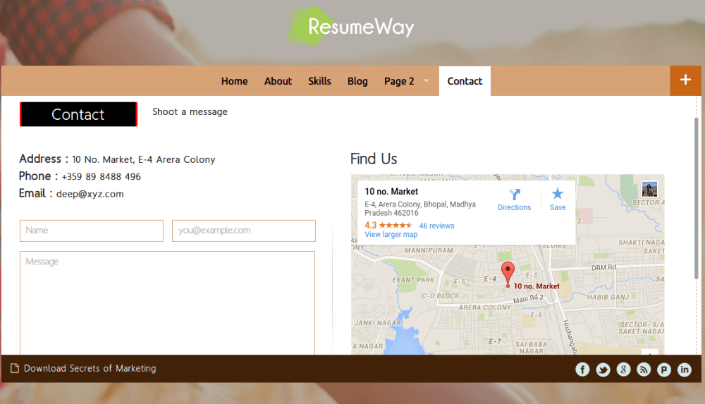 Contact Page - ResumeWay