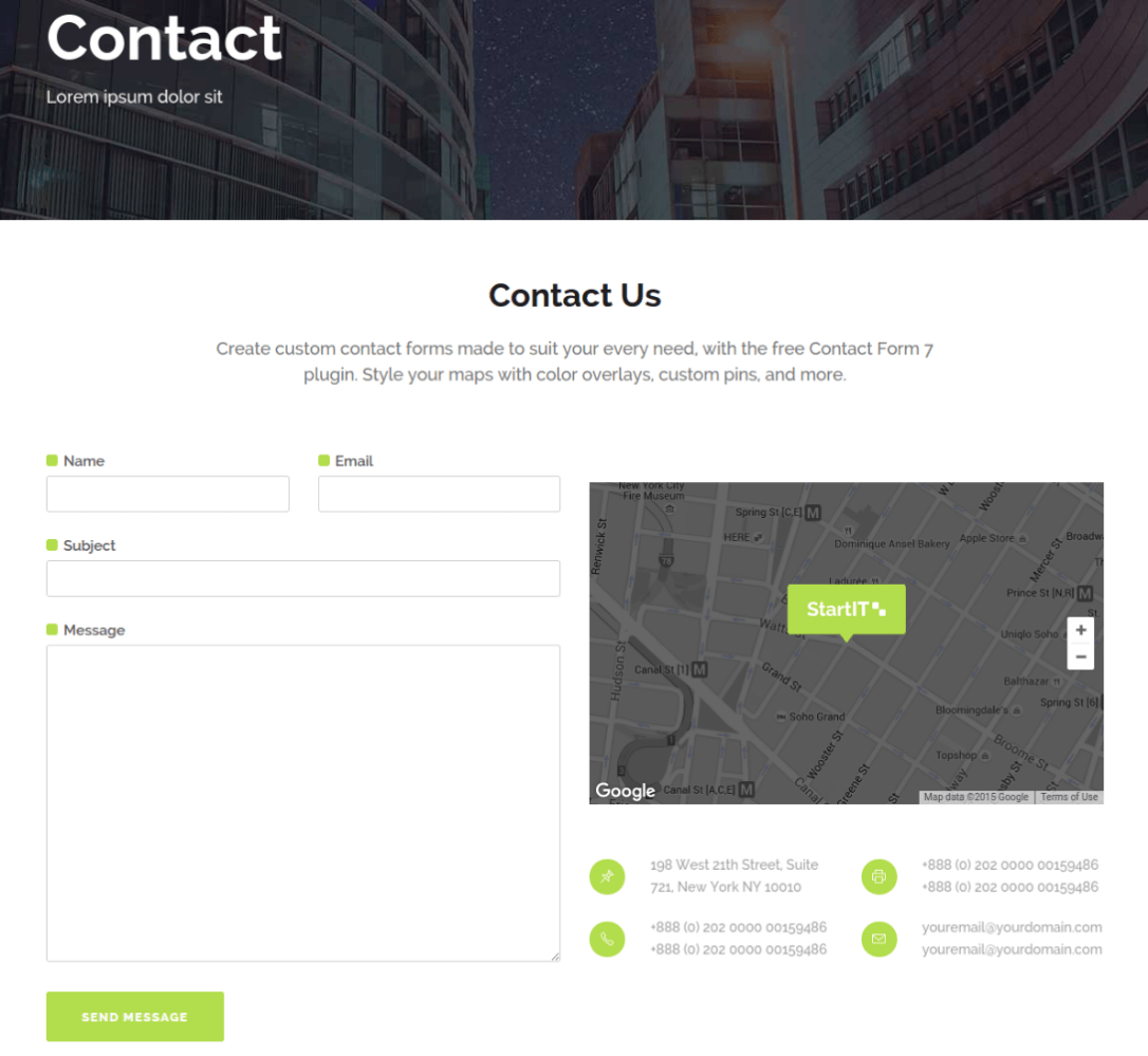 Contact Page of Startit