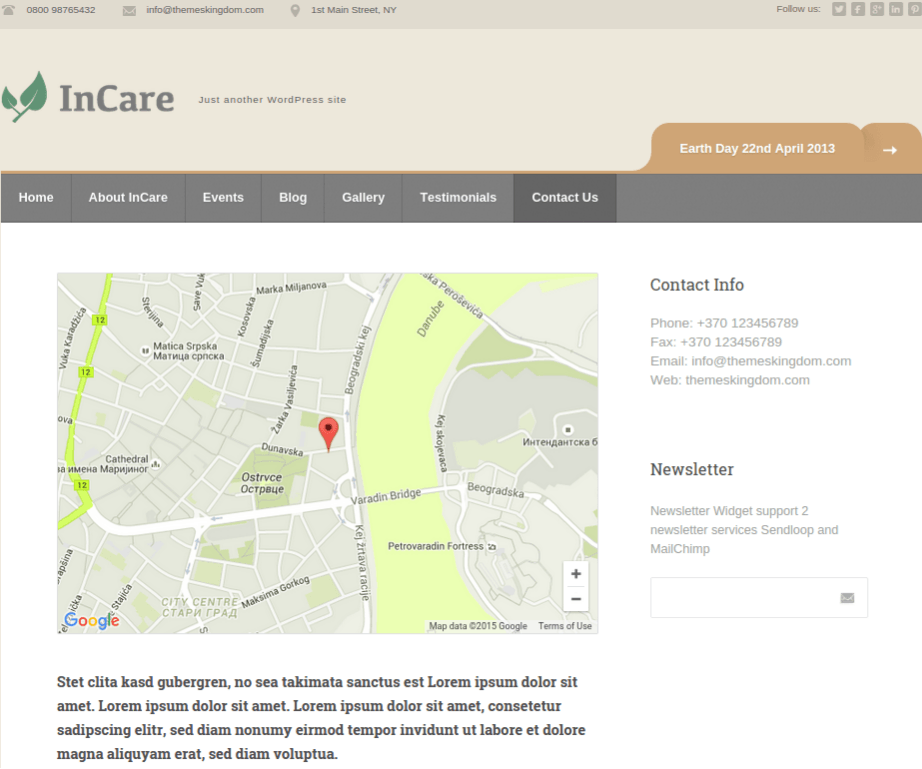 Contact-incare-WordPress-theme