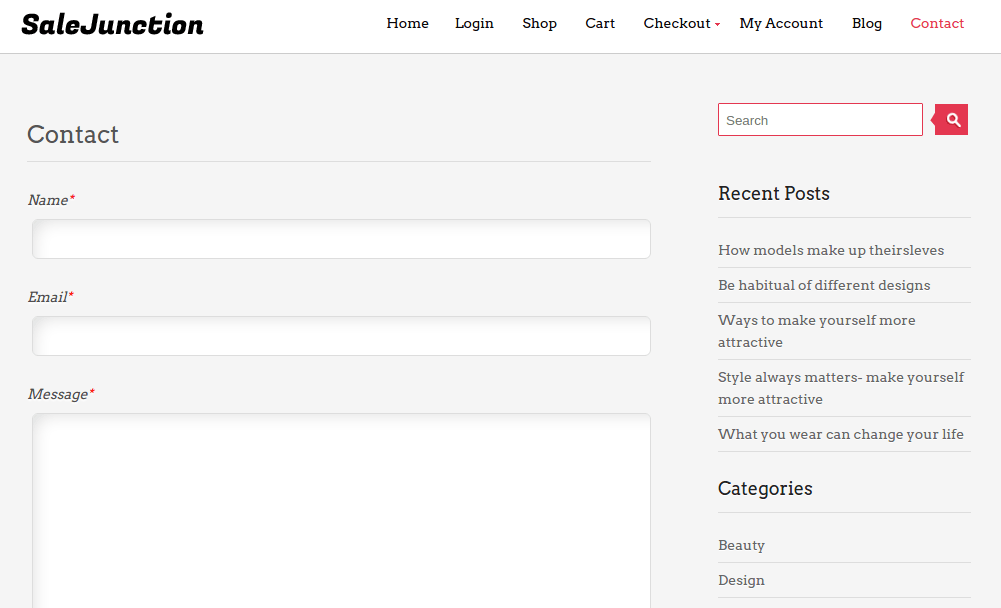 Contact page of SaleJunction