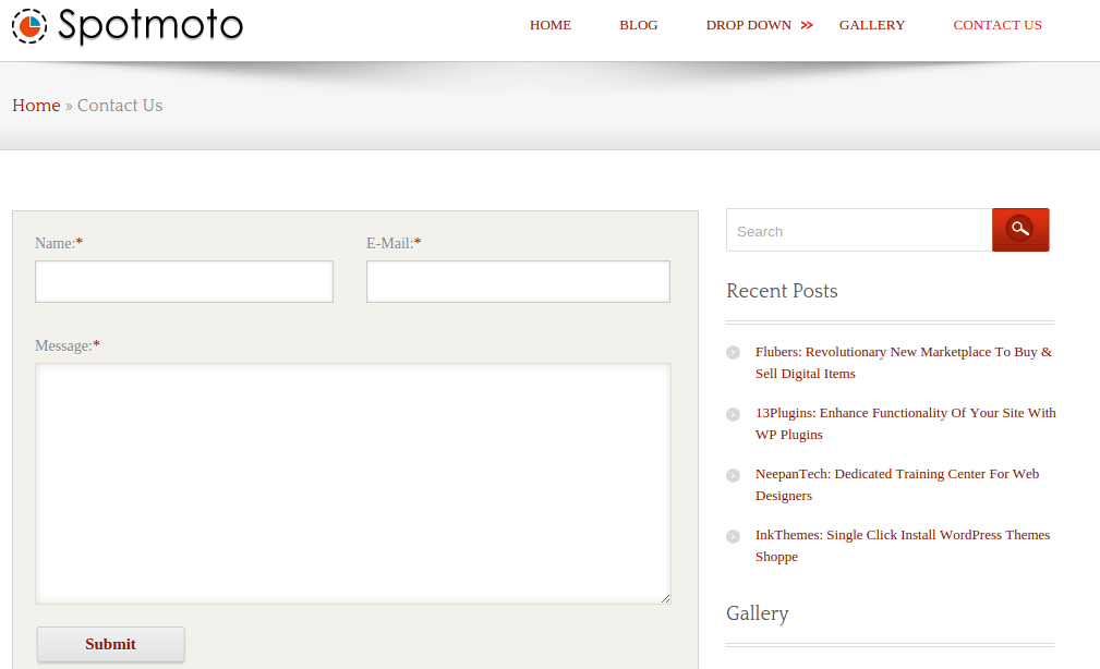Contact page of spotmoto