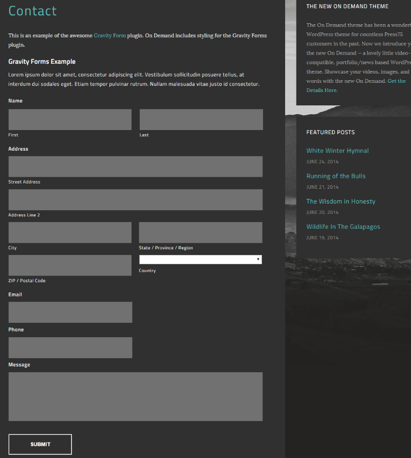 Contact us page of On Demand theme