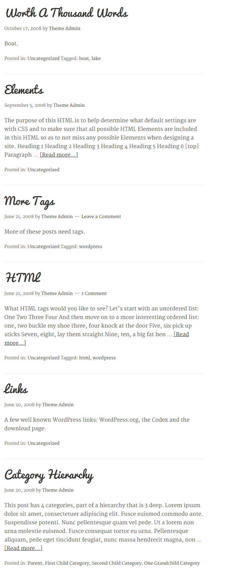 Delicious- Blog page layout of this theme
