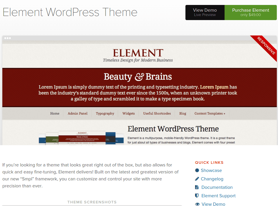 Element Theme Home Page