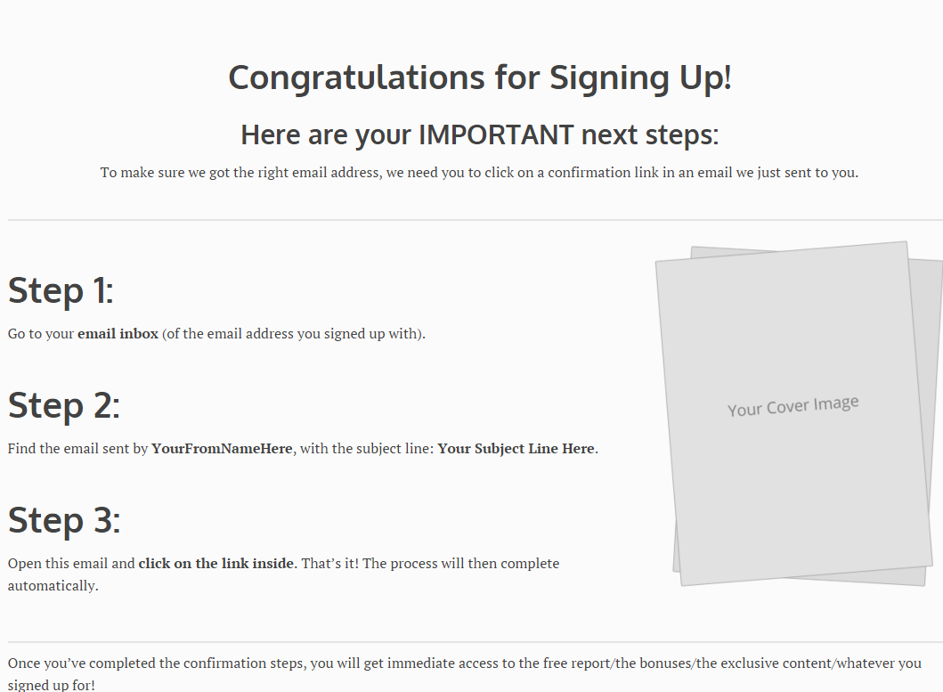 Email confirmation shortcode for Luxe theme