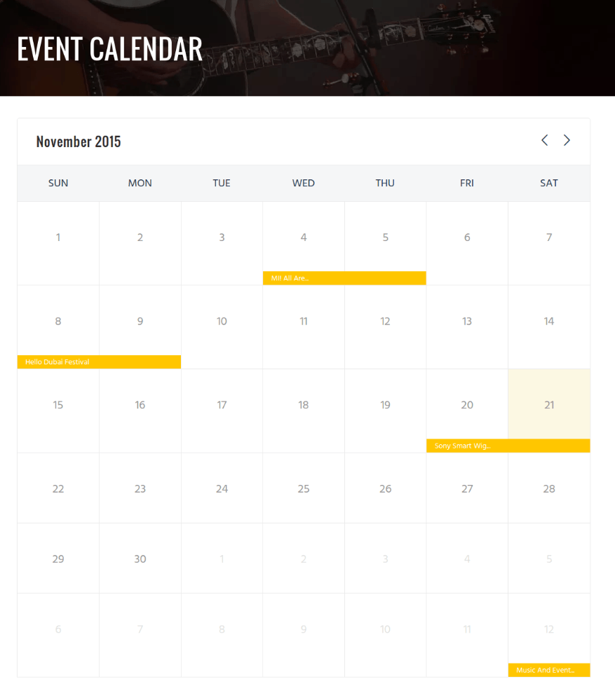 Event Calendar of Rockit
