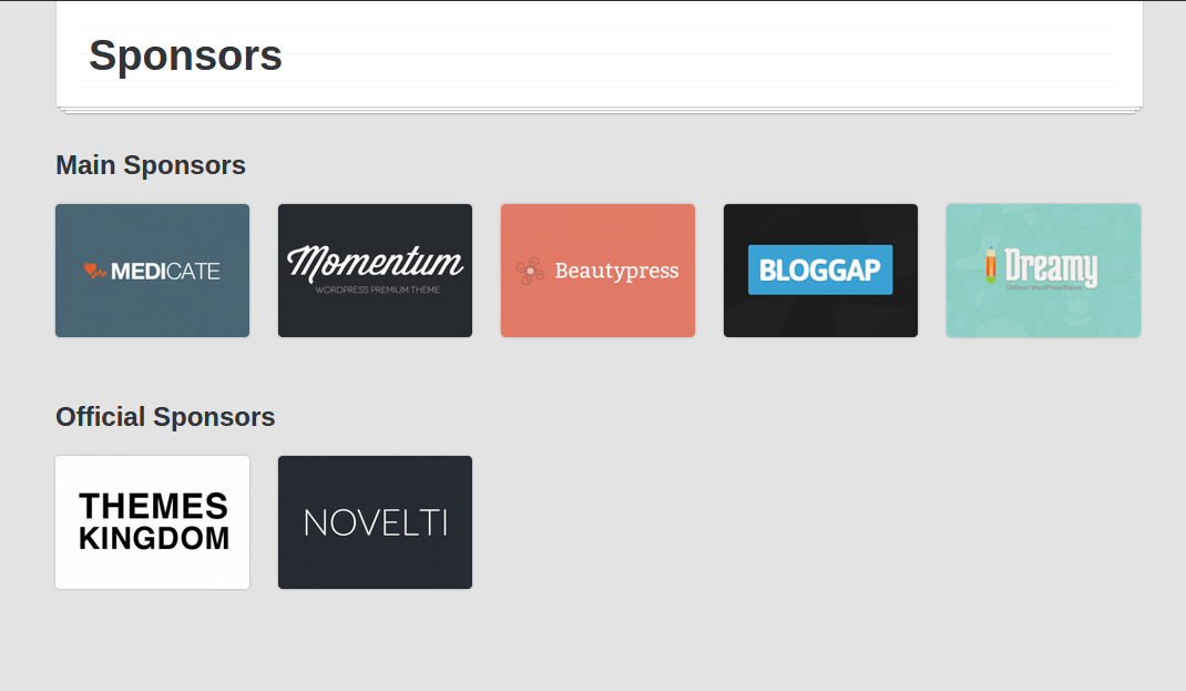 Eventor Sponsors Page