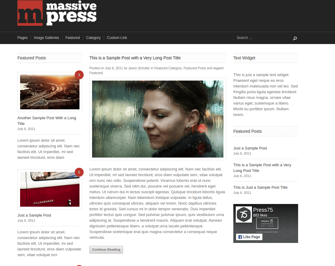 Featured post of Massive Press theme
