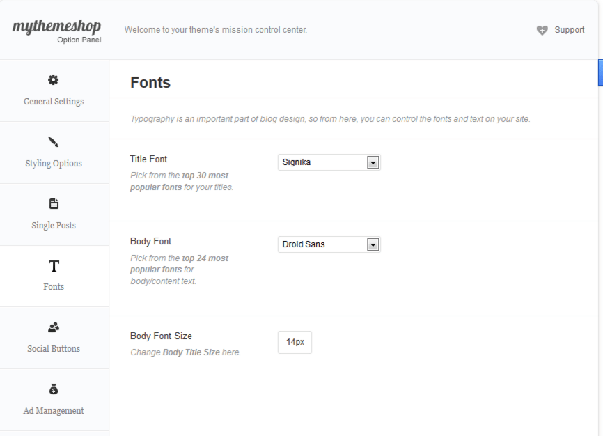 Font option panel of texured